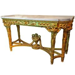 Fine French Louis XVI Style Giltwood Marble-Top Console Table