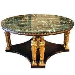 Fine Empire Revival Marble and Mahogany Center Table