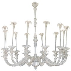 "Murano ""Rezzonico"" Cristallo Pura Glass Fountain Chandelier"