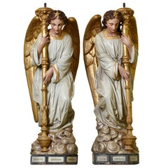 Impressive Pair of French Terracotta Figural Torcheres Modelled as Angels