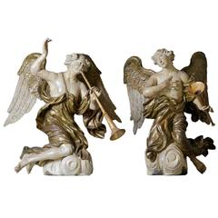 Pair of Antique Carved and Polychrome Decorated Wood Angels / Putti