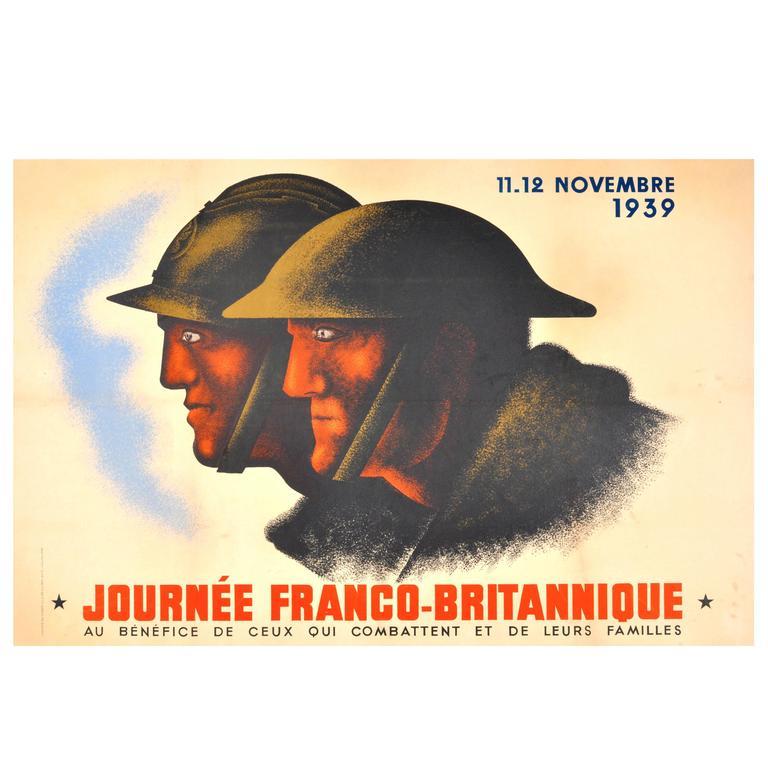 "Original Vintage World War II Poster by Jean Carlu, ""Franco-British Day, 1939"""