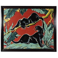 20th Century Screen-Print of Two Panthers by Locke