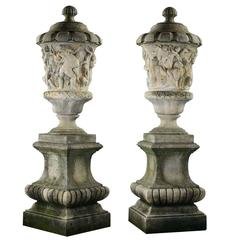 Pair Of Large Continental Sculpted White Marble Urns For