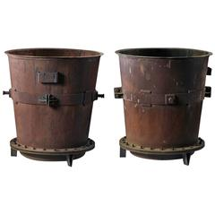 Pair of Large Wrought and Sheet Iron Industrial Vats, Now Utilized as Planters