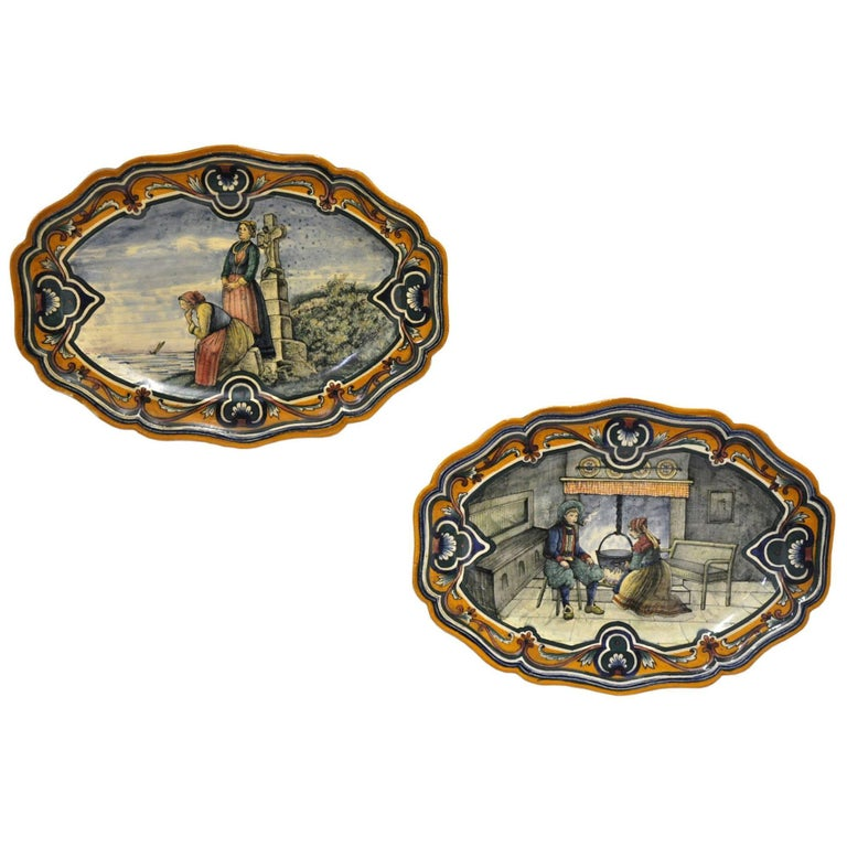 Pair of 19th Century French Oval Hand-Painted Faience Wall Platters from Nevers