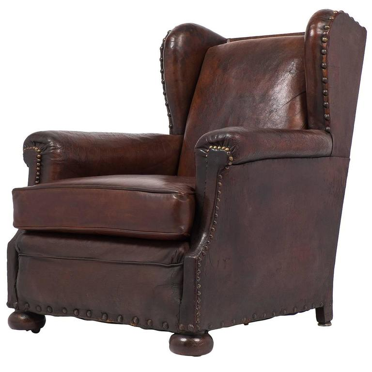 French Vintage Wingback Leather Club Chair For Sale