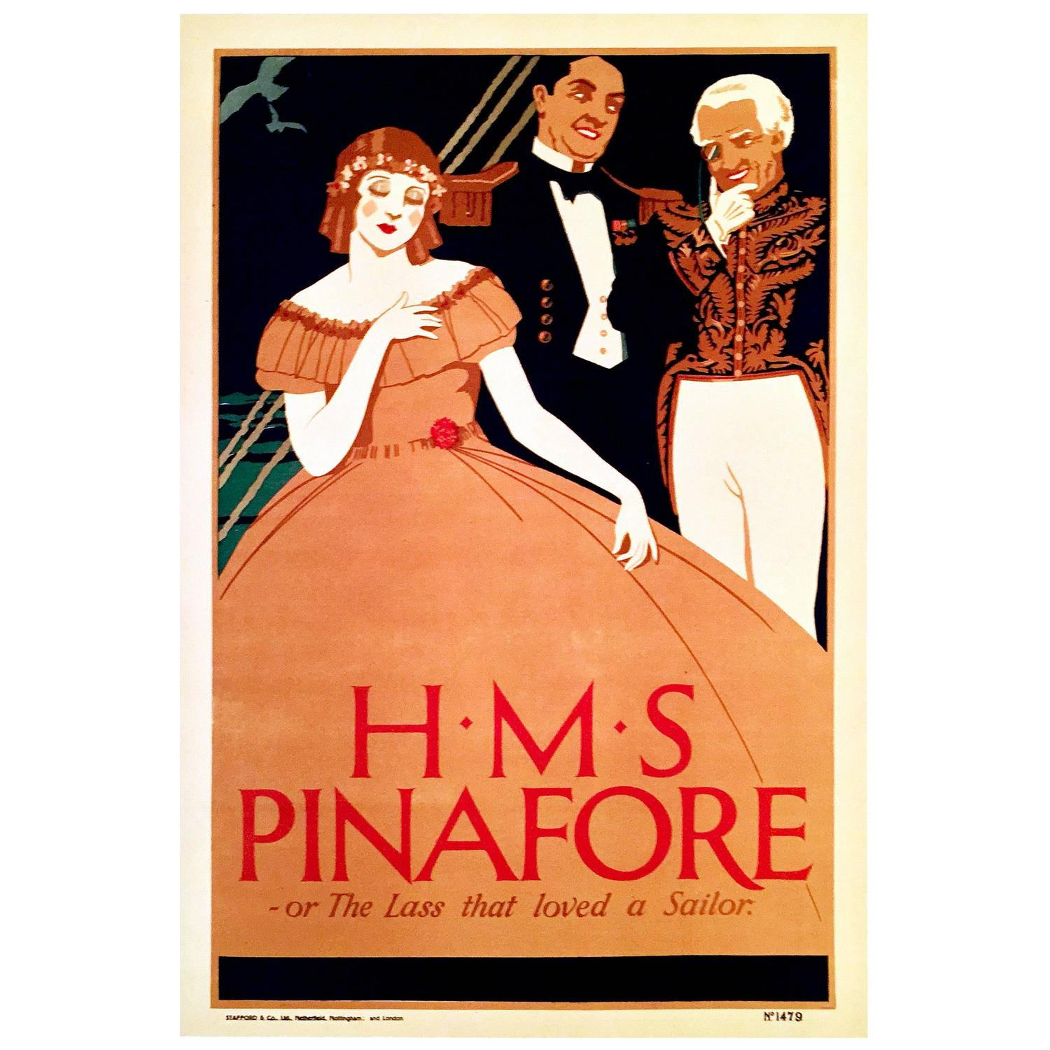 British Art Deco Period Theater Poster for HMS Pinafore ...