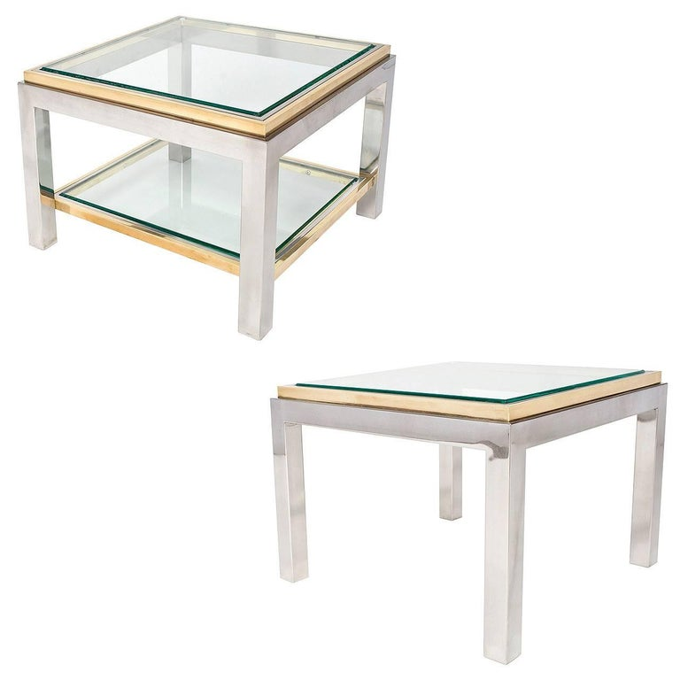 French Vintage Pair of Chrome and Brass Side Tables For Sale