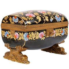 Faux Cloisonné Bronze-Mounted Painted Floral Porcelain Box with Key