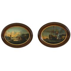 Pair of Anglo-Chinese School Oils on Canvas, Harbor Scenes