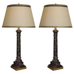 Pair of Early 20th Century Classic Form Marble Lamps