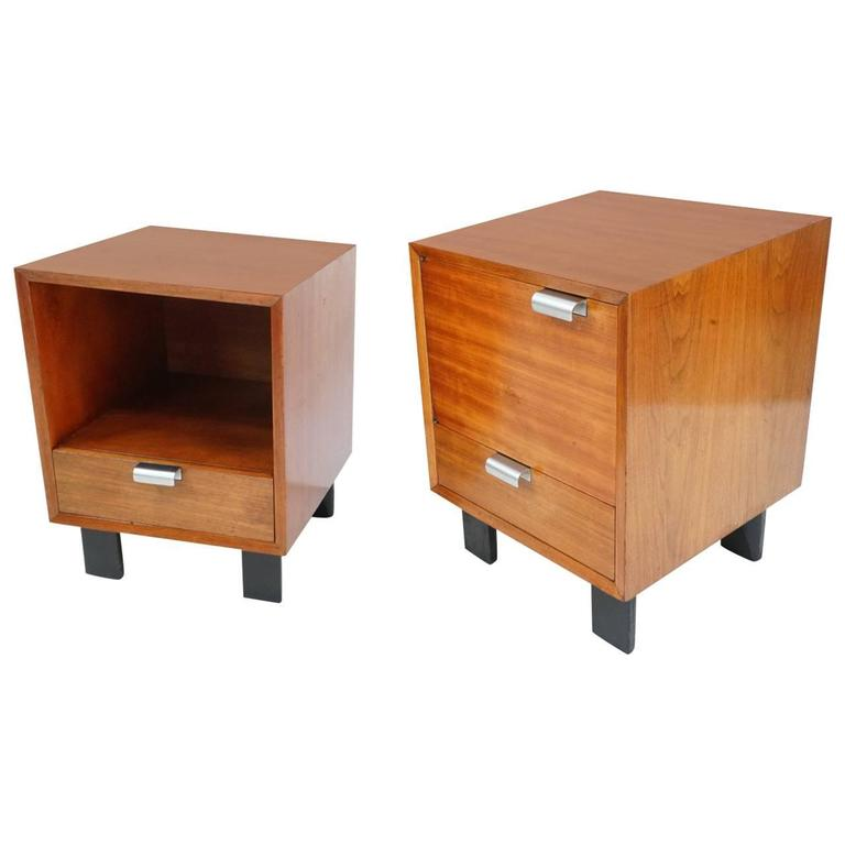 George Nelson Walnut Nightstands For Herman Miller At 1stdibs