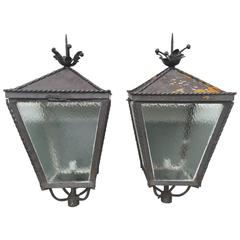 Estate Size Pair of Italian Castello Steel Lanterns
