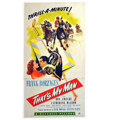 """Original Vintage 1947 Movie Poster for a Horse Racing Film, """"That's My Man"""""""