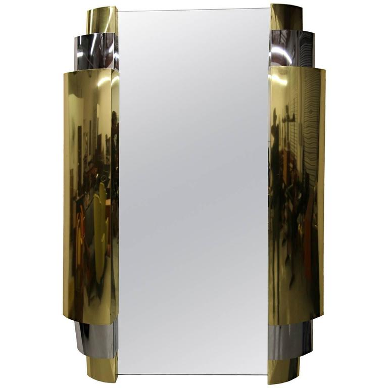Art Deco Style Tiered Chrome and Brass Mirror by Curtis Jere, Signed