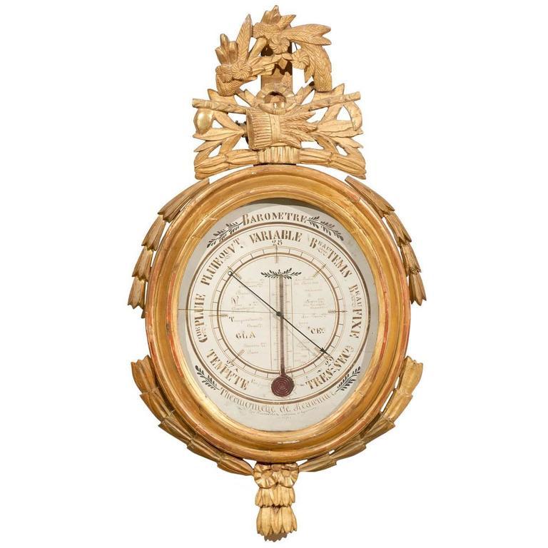 Louis XVI Giltwood Barometer, France, circa 1790