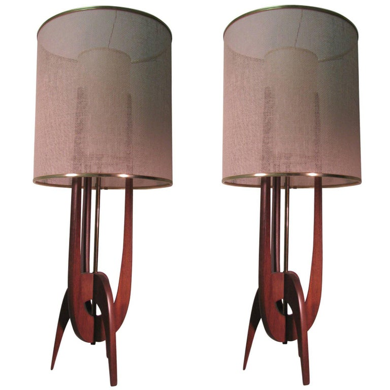 Pair Of Mid Century Modern Adrian Pearsall Table Lamps At 1stdibs