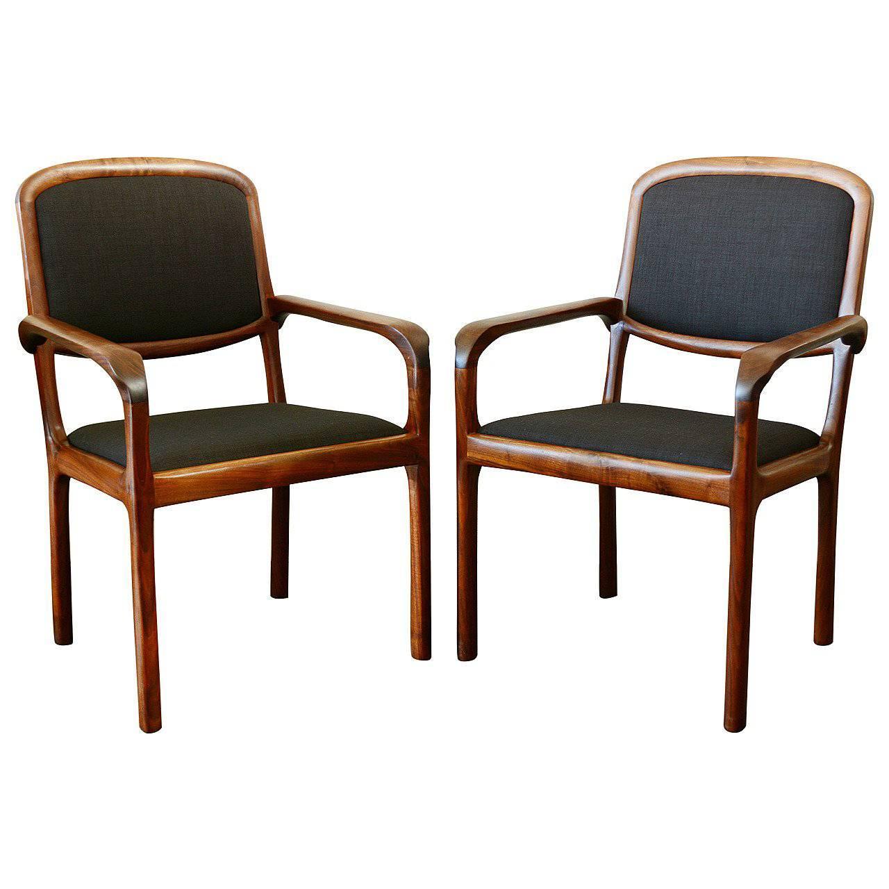 Pair Of Studio Craft Walnut Chairs