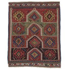 Kilim Rug with Ascending Arches