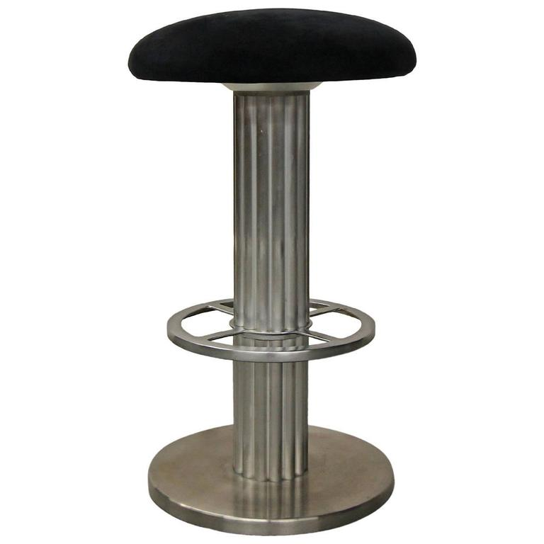 Single Backless Reeded Column Swivel Bar Stool By Design
