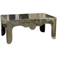 Venetian Style Mirrored Coffee Table with Scalloped Apron and Elegant Lines