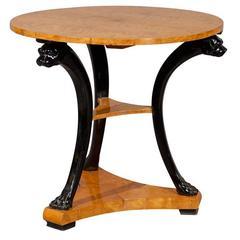 19th Century Biedermeier Gueidon Table in Birch with Ebonized Lion Motif Base