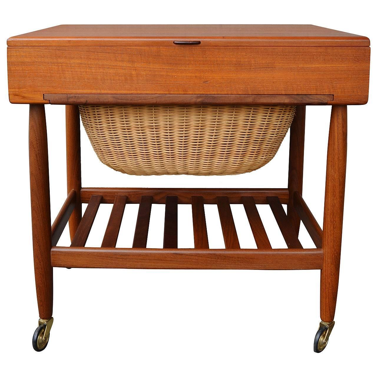 Danish Teak Sewing Table or Cabinet by Vitre at 1stdibs
