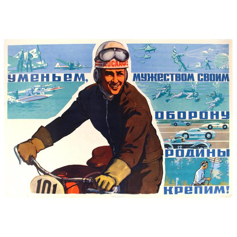 Original Vintage Soviet Sports Poster Featuring Car Racing, Parachute Jumping