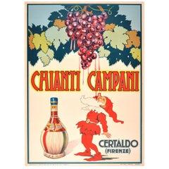 Original Vintage 1940 Drink Advertising Poster Chianti Campani Italian Red Wine