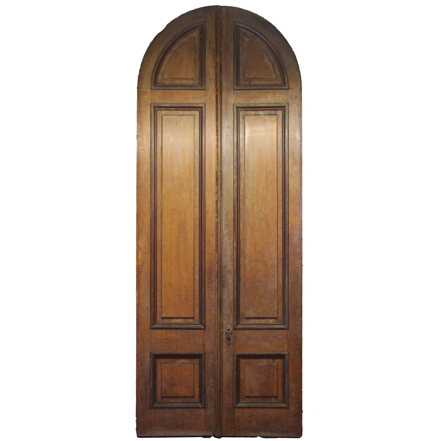 1876 Pair of Oversize Raised Panel Arched Entry Double Doors from New Jersey
