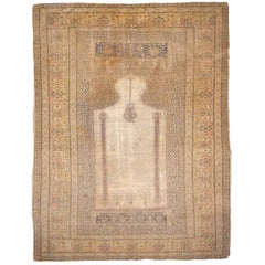 Antique Turkish Distressed Bandirma Silk Prayer Rug