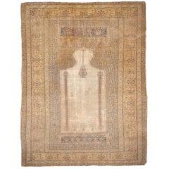 Antique Turkish Distressed Bandirma Silk Prayer Rug
