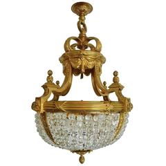 Gilt Bronze and Crystal Bead Eight-Light Chandelier by E.F. Caldwell