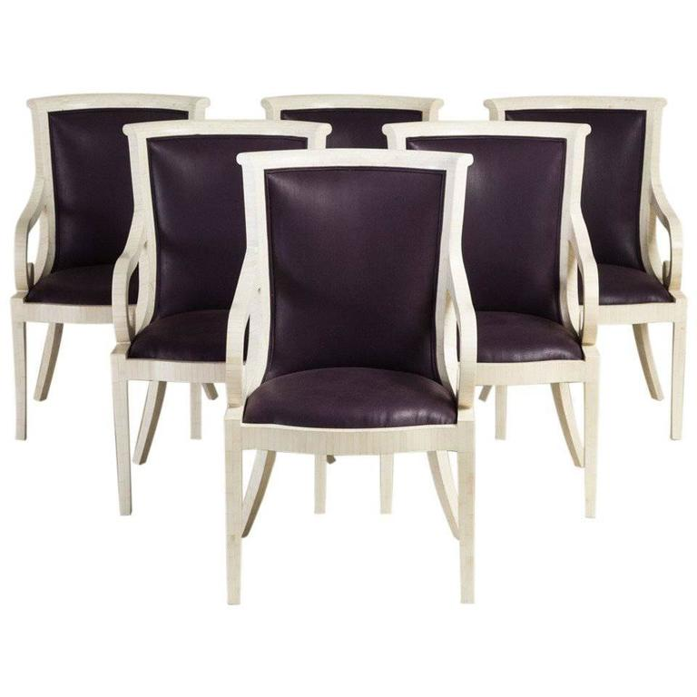 Set of Six Tessellated Bone Veneered Dining Chairs, 1970s
