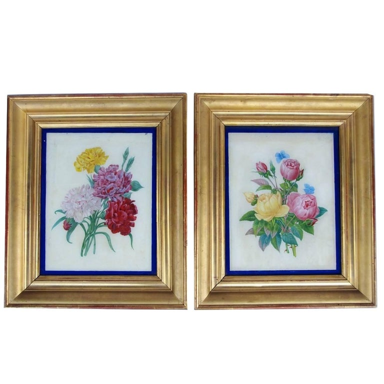 Pair of Restauration style reverse glass paintings, late 19th century For Sale