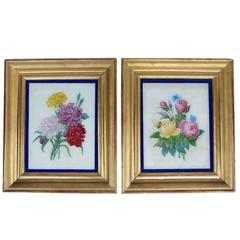 Pair of Painted Glass Roses, French Restauration Style, circa 1880