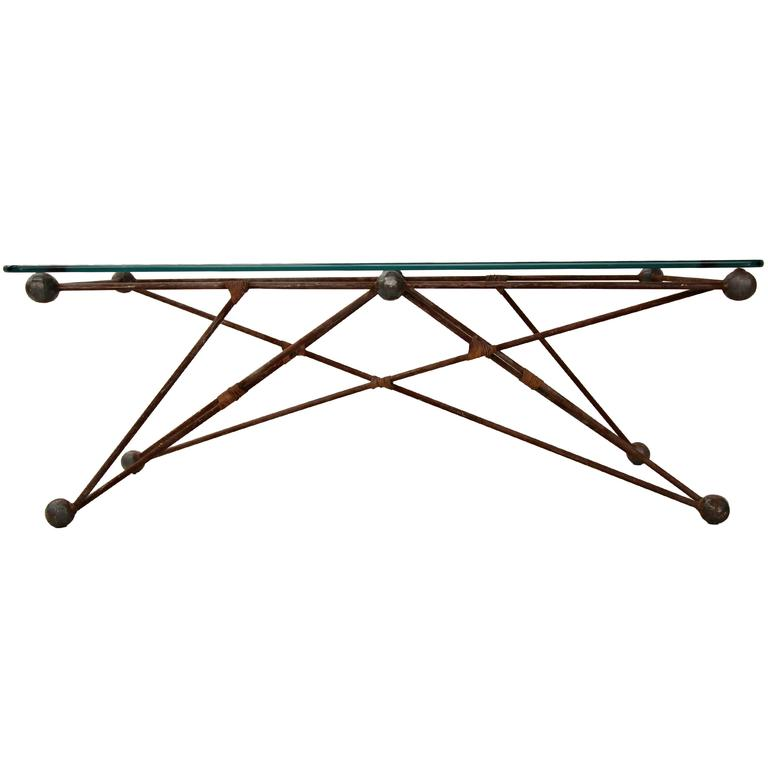 Custom Iron Cats Cradle Industrial Coffee Table Or Bench For Sale