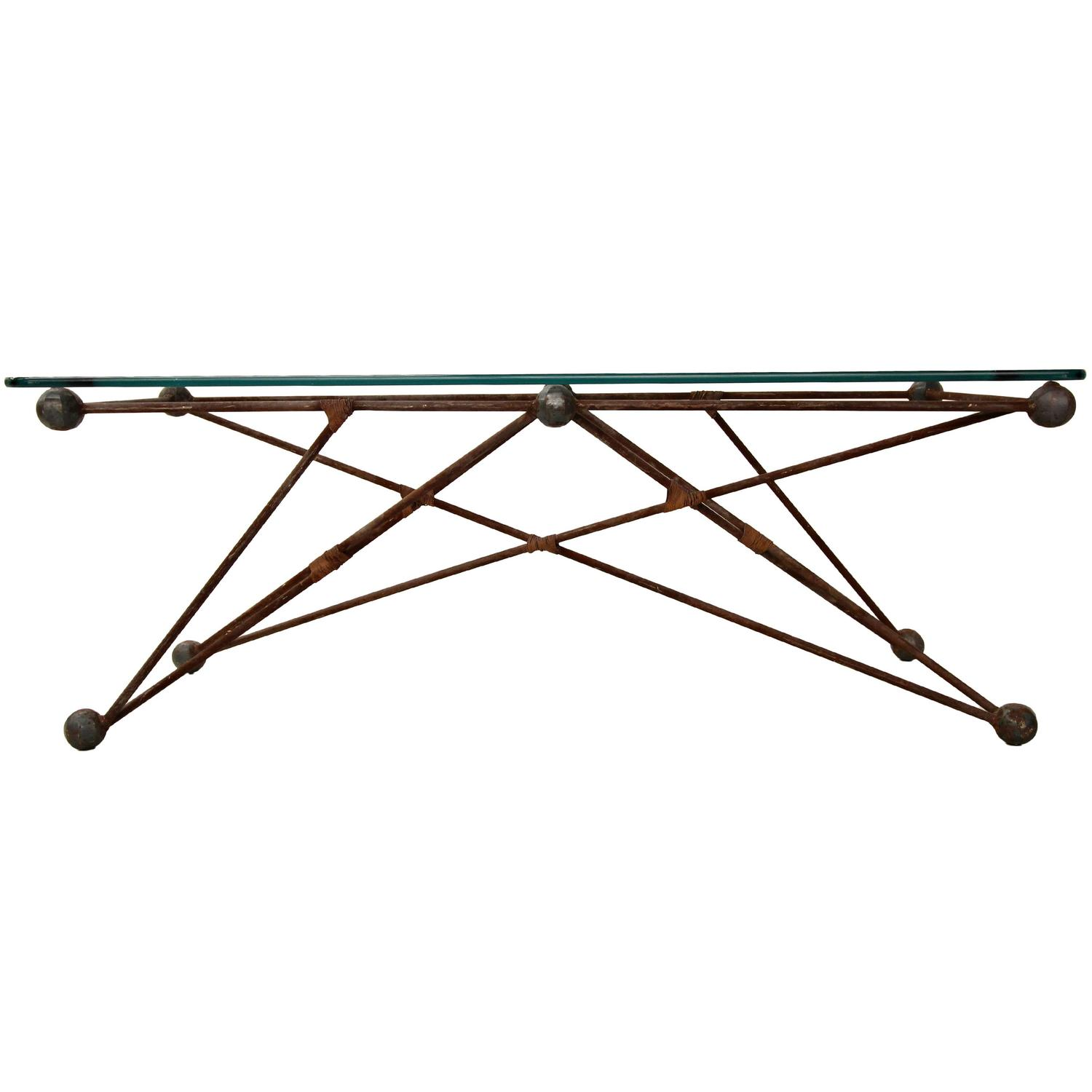Rolling Industrial Folding Scissor Coffee Table with Dark