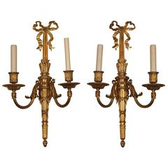Pair of Louis XVI Style Bronze Sconces Signed Caldwell