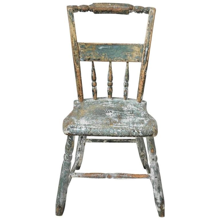 Antique Turquoise Wooden Chair