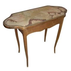 Unusual 19th Century Needlepoint Top Table