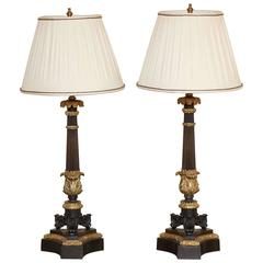 Pair of Charles X Ormolu and Bronze Candelabra Lamps