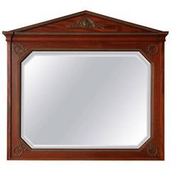 French Mahogany Mirror with Triangular Pediment