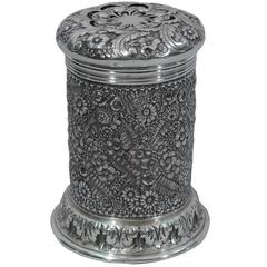 Unusual Sterling Silver Shaker with Floral Repousse by Tiffany