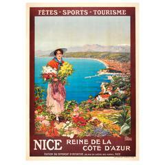 Original Antique Poster: Nice Reine De La Cote D'Azur - Queen of the Cote d'Azur