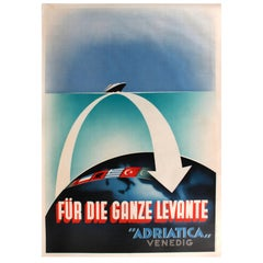 "Original Art Deco Cruise Ship Poste, Für Die Ganze Levante ""Adriatica"" Venedig"