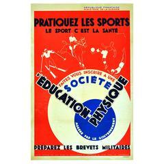 Original 1932 Art Deco Sport Poster, Skiing, Horse Riding, Football, Swimming
