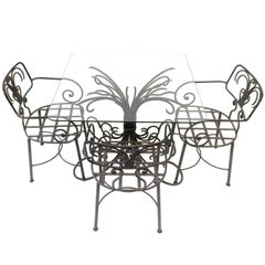 Lovely Curlicue French Style Wrought Iron Garden Patio Set with Glass Table