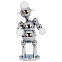 Space Age Italian Robot Table Lamp in Chrome by Torino
